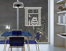 Fenstertattoo No.MW97 Katzenkino Kätzchen Fenster Nacht Sterne Aussicht   Glasdekorfolie selbstklebend Milchglasfolie 5 Farben Fensterfolie Klebefolie Glasdekorfolie Sichtschutz Blickschutz Milchglas Fenster Bad Farbe: Refreshing Mint; Größe: 105cm x 80cm