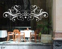 Fenstertattoo No.SF808 Ornament Ornament Tattoo Schnörkel Muster Design   Glasdekorfolie selbstklebend Milchglasfolie 5 Farben Fensterfolie Klebefolie Glasdekorfolie Sichtschutz Blickschutz Milchglas Fenster Bad Farbe: Frosted; Größe: 27cm x 75cm