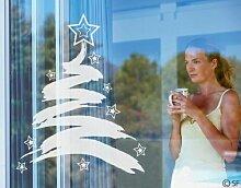 Fenstertattoo No.SF838 XMas Tree Sterne Weihnachten Weihnachtsbaum Abstrakt   Glasdekorfolie selbstklebend Milchglasfolie 5 Farben Fensterfolie Klebefolie Glasdekorfolie Sichtschutz Blickschutz Milchglas Fenster Bad Farbe: Frosted; Größe: 73cm x 60cm