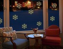 Fenstertattoo No.SK4 Schneeflocken Set Weihnachten Eis Frost Schneeflocken | Glasdekorfolie selbstklebend Milchglasfolie 5 Farben Fensterfolie Klebefolie Glasdekorfolie Sichtschutz Blickschutz Milchglas Fenster Bad Farbe: Frosted; Größe: 75cm x 77cm
