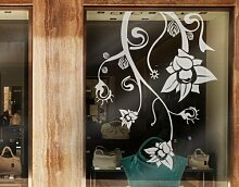 Fenstertattoo No.TA41 Extraterrestrial Flowers pflanze blüte blume ranke blatt | Glasdekorfolie selbstklebend Milchglasfolie 5 Farben Fensterfolie Klebefolie Glasdekorfolie Sichtschutz Blickschutz Milchglas Fenster Bad Farbe: Romantic Rose; Größe: 130cm x 101cm