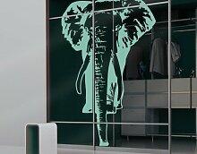 Fenstertattoo No.TA8 Elefant Safari Afrika Tiere Rüssel Grau | Glasdekorfolie selbstklebend Milchglasfolie 5 Farben Fensterfolie Klebefolie Glasdekorfolie Sichtschutz Blickschutz Milchglas Fenster Bad Farbe: Frosted; Größe: 70cm x 44cm