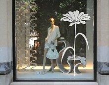 Fenstertattoo No.UL529 Blume Blume Pflanze Blüte Schaufenster Blätter | Glasdekorfolie selbstklebend Milchglasfolie 5 Farben Fensterfolie Klebefolie Glasdekorfolie Sichtschutz Blickschutz Milchglas Fenster Bad Farbe: Frosted; Größe: 66cm x 30cm