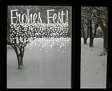 Fenstertattoo No.UL530 Frohes Fest Weihnachten Frohes fest Schnee Sternenhimmel | Glasdekorfolie selbstklebend Milchglasfolie 5 Farben Fensterfolie Klebefolie Glasdekorfolie Sichtschutz Blickschutz Milchglas Fenster Bad Farbe: Refreshing Mint; Größe: 44cm x 60cm