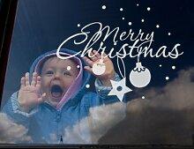 Fenstertattoo No.UL536 Merry Christmas Weihnachten Frohes fest Schnee | Glasdekorfolie selbstklebend Milchglasfolie 5 Farben Fensterfolie Klebefolie Glasdekorfolie Sichtschutz Blickschutz Milchglas Fenster Bad Farbe: Sparkling Yellow; Größe: 122cm x 151cm