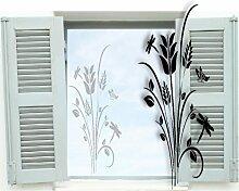 Fenstertattoo ~ Pflanze, Baum, Blumenranke mit Schmetterling ~ glas018-38x57 cm 600050 Aufkleber für Fenster, Glastür und Duschtür aus Glas, Fensterbild, wasserfeste Glasdekorfolie in Sandstrahl - Milchglas Optik