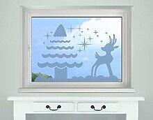 Fenstertattoo Rentier mit Baum B x H: 80cm x 54cm Farbe: gelb von Klebefieber®