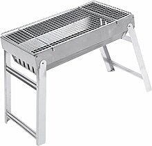 Fenteer Holzkohlegrill Holzkohle BBQ Grill Gartengrill für Camping, Backpacking, Picknick - 44x25x35.5cm