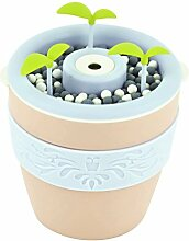 Fenteer Mini USB 200ml Luftbefeuchter Aroma Diffusor Ultraschall in Blumentopf Form - Rosa