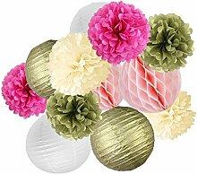 Fenteer Party-Dekoration Set, Wabenbälle Fächer Laternen Girlande zum Aufhängen - Gold Rosa Weiß PomPoms Laternen, 12pcs
