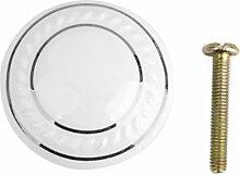 Fenteer Rund Möbelknopf Möbelknauf Möbelgriff aus Keramik Porzellan mit Schrauben - Weiß + Silber, One Size