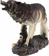Fenteer Wolf Gartenfigur Skulptur mit Solarlampe,