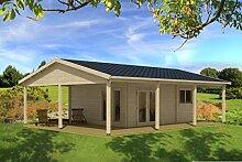 Ferienhaus F1 inkl. Fußboden - 70 mm Blockbohlenhaus, Grundfläche: 30,00 m², Satteldach