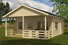 Ferienhaus F10 inkl. Fußboden - 70 mm Blockbohlenhaus, Grundfläche: 35,90 m², Satteldach
