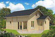 Ferienhaus F12 inkl. Fußboden - 70 mm Blockbohlenhaus, Grundfläche: 42,90 m², Satteldach