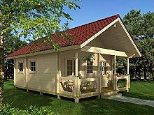 Ferienhaus F9 inkl. Fußboden - 70 mm Blockbohlenhaus, Grundfläche: 34,50 m², Satteldach