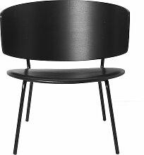 ferm Living - Herman Lounge Chair, Leder schwarz /