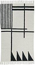 ferm LIVING Kelim Black Lines Teppich klein, schwarz weiß 80x140cm chemisch reinigen