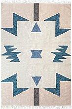 ferm LIVING Kelim Blue Triangles Teppich groß, rosa beige blau 140x200cm chemisch reinigen