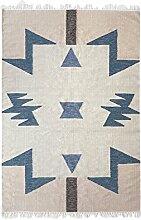 Ferm Living Kelim Blue Triangles Teppich groß,
