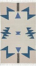 ferm LIVING Kelim Blue Triangles Teppich klein, rosa beige blau 80x140cm chemisch reinigen