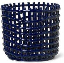 ferm LIVING - Keramik Korb, groß, blau
