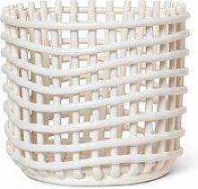 ferm LIVING - Keramik Korb, groß, off-white