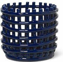 ferm LIVING - Keramik Korb, klein, blau