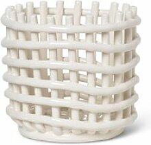 ferm LIVING - Keramik Korb, klein, off-white