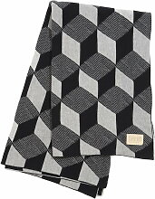 ferm Living - Knitted Blanket Decke, squares grey