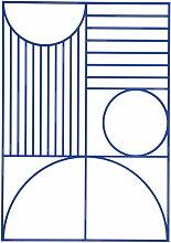 ferm Living - Outline Wanddekoration Rechteckig, blau