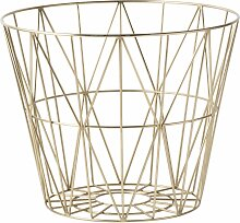 ferm LIVING - Wire Basket Korb - S - Messing - -