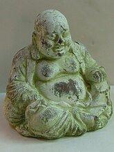 Fernöstlicher Buddha Figur lachende Buddha-Skulptur Keramik H21cm Gartenfigur