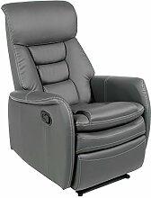 Fernsehsessel Relaxsessel XXL Sessel SOPHIE mechanisch regelbare Liegefunktion in Kunstleder in grau