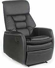 Fernsehsessel Relaxsessel XXL Sessel SOPHIE mechanisch regelbare Liegefunktion in Kunstleder in schwarz