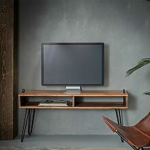 Fernsehtisch aus Akazie Massivholz und Stahl 110