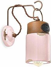 ferroluce Wandleuchte Industrial Vintage Pink VIC
