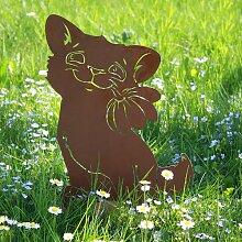 Ferrum Art Design Rostfigur Katze mit Blume auf Platte
