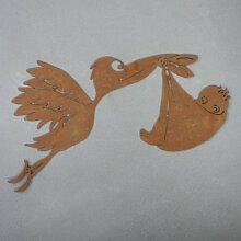 Ferrum Art Design Rostfigur Storch mit Baby hängend