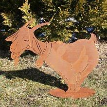 Ferrum Art Design Rostfigur Ziege mit Glocke auf Platte