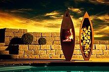 Ferrum Art Design RUSTIKA - Kaminofen mit Holzlege