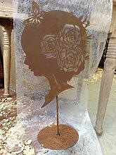 Ferrum Blumenkopf Silhouette auf Platte H: 61cm x B: 33cm Rost Dekoration Metall Garten Skulptur Edel