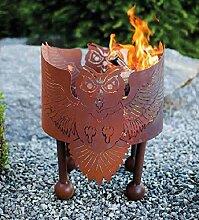 Ferrum Feuerschale Eulentanz Eule H:40cm x D:40cm