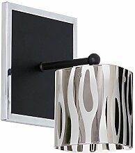 Fesche Wandleuchte in Chrom Schwarz 1x E27 bis zu 60 Watt 230V aus Glas & Metall Flur Wohnzimmer Esszimmer Lampen Leuchte Wandlampe