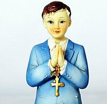 Feste Feiern zur Kommunion oder Konfirmation I Tortendeko Junge kniend auf Bibel 12x6cm I standfähig, nicht essbare Dekoration