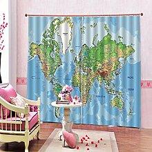 Feste Isolationsvorhänge Karte Drucken Polyester