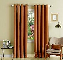 feste lushomes Öse braun glatt Luxus Vorhänge Verdunkelungs Tür / Fenster drapers 1 Stück