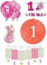 FesteFeiern® Dekoration 1. Geburtstag Mädchen rosa pink bunt; 10 Teile mit Latex Helium Luftballons, Laterne, Girlande und Tischdeko