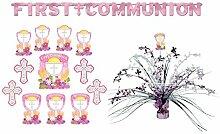 FesteFeiern® Dekoration Kommunion für Mädchen in rosa pink weiss; 14 Teile gesam