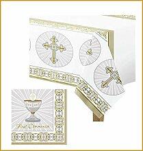 FesteFeiern Dekoration Tischdeko Set Kommunion | Tischdecke und Servietten | Partydeko 1. Heilige Kommunion, Erstkommunion